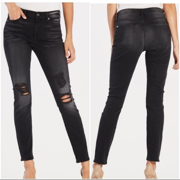 7 For All Mankind-Distress Knee Washed Black Jeans